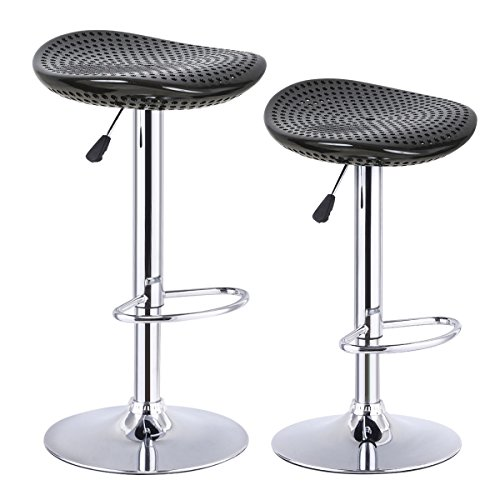 COSTWAY Bar Stool, Adjustable Swivel ABS Material Sturdy Seat Pub Air Lift Barstools Set of 2 Black