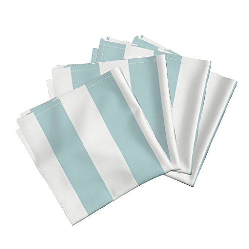 Roostery Aquamarine Stripe Wide Avignon Organic Sateen Dinner Napkins Canopy Stripe in Aquamarine by Willowlanetextiles Set of 4 Dinner Napkins