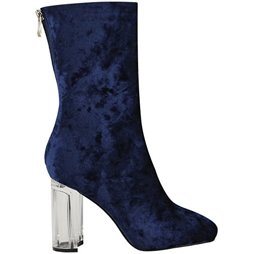 Ankle Heels Midnight Size Clear Heel Velvet Velvet Thirsty Party Celeb Clear Perspex Fashion Ladies High Boots Perspex Womens Block Blue 6txTqOwz1