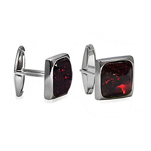 Cufflinks Silver Cut (Cherry Amber Sterling Silver Square Cufflinks)