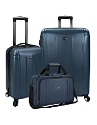 Traveler's Choice US09031N US Traveler Hytop 3-Piece Spinner Luggage Set, Blue, One Size