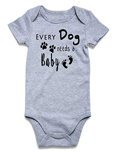 Funny Newborn Infant Baby Girls Boys Short Sleeve Bodysuit Announcement Romper Set Gray Outfits Clothes, Every Dog Needs A Baby