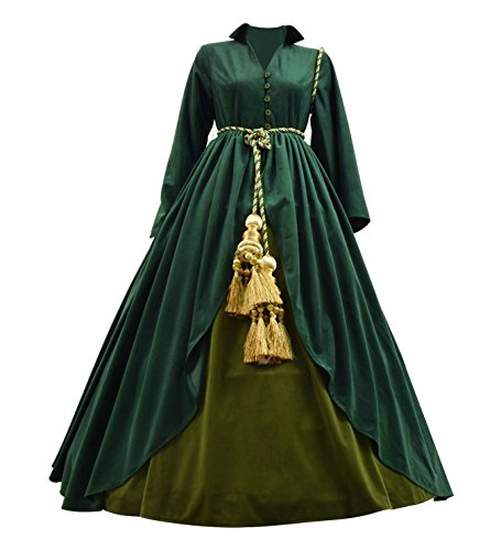 Classic Movie Gone Wind Scarlett Costume Women Green Fancy Dress Costume (Custom-Made, Green) -