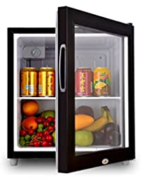 SL&BX Glass door fridge,Household refrigerator food sample cabinet lock single door freezer mini compact refrigerator-black 44.5x46.5x52cm(18x18x20inch)