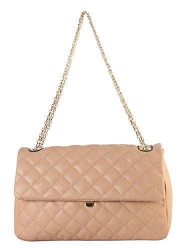 Diophy PU Leather Medium Quilted Crossbody Handbag with Chain Strap ZU-2690