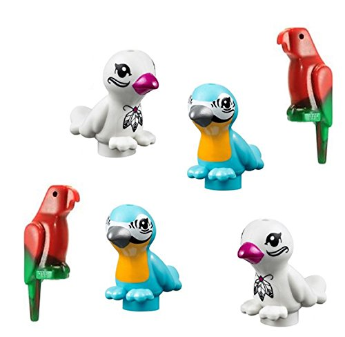 LEGO 6 pcs NEW Friends Animal BIRD Lot Assortment Zoo Parrot Tropical Macaw Blue White Red Green Exotic Minifig Minifigure Pet Pluma Figure cute boy girl part piece pack