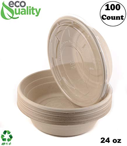 - 100 Count - EcoQuality 24oz Round Disposable Bowls with Lids Natural Sugarcane Bagasse Bamboo Fibers Sturdy Compostable Eco Friendly Environmental Paper Plastic Bowl Alternative Tree Free