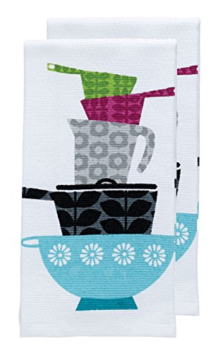 Kitchen Dish 2 Towels (T-fal Textiles Double Sided Print Woven Cotton Kitchen Dish Towel Set, 2-pack, 16