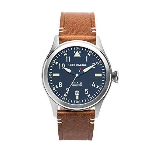 Navy Blue Face with Brown Italian Leather Strap