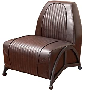 Best Selling Brenton Leather Slipper Chair, Brown