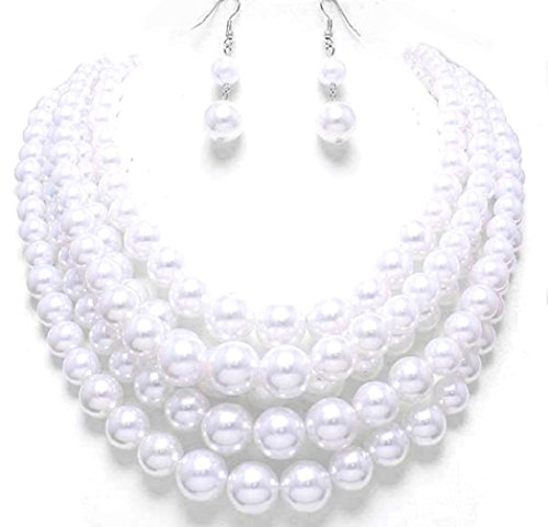 Simple Statement Layered Strands White Pearl Beads Silver Chain Necklace Earrings Set Bridesmaid Gift