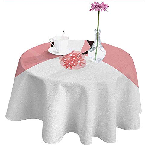 Douglas Hill Bridal Shower Easy Care Leakproof and Durable Tablecloth Wedding Dress with Flowers Abstract Backdrop Celebration Print Outdoor Picnic D55 Inch Black White and Salmon