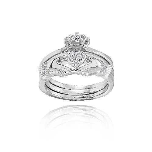 Sterling Silver Claddagh Stackable Ring Set, Size 8