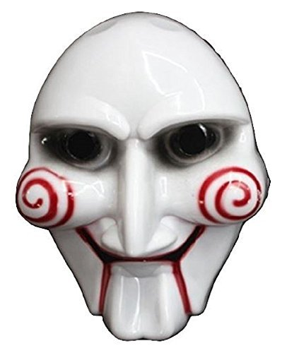 Saw-saw surprise everyone at the Festival of the Billy puppet style mask mask jigsaw killer Jigsaw Killer Halloween Haunted House! Cosplay costume, costume props, horror toy jokes a collection item