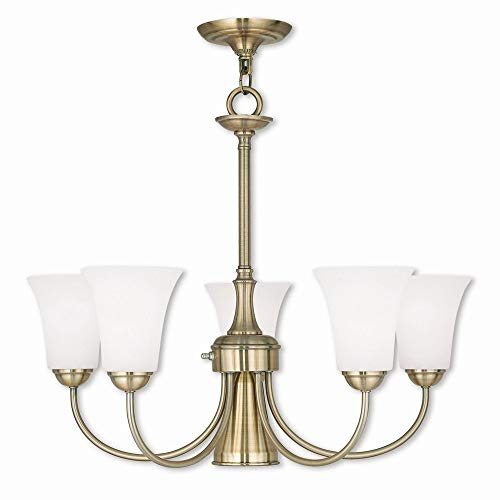 Livex Lighting 6465-01 Ridgedale - Six Light Dinette Chandelier, Antique Brass Finish with Satin Opal White Glass