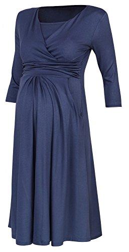 Zeta Ville Premamá - Vestido de lactancia efecto 2 en 1 - para mujer - 848c azul/gris