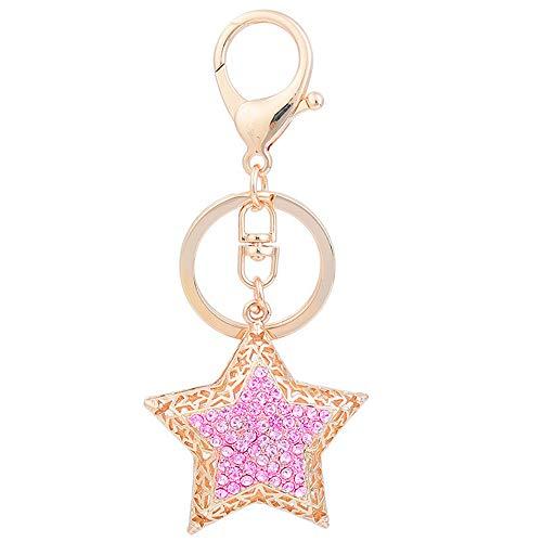 (Reizteko Crystal Rhinestone Crystal Star Hollow Design Keychain Key Ring Key Chain Charms Women Car Trinket Female's Gift Key Ring Key Holder Key fob (Pink))