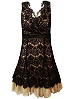 Betsy & Adam Woman's Lace Overlay A-Line Dress