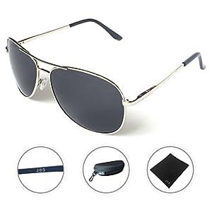 J+S Premium Military Style Classic Aviator Sunglasses, Polarized, 100% UV protection (Large Frame - Silver Frame/Black Lens)