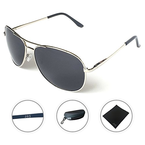 J+S Premium Military Style Classic Aviator Sunglasses, Polarized, 100% UV protection (Large Frame - Silver Frame/Black Lens)