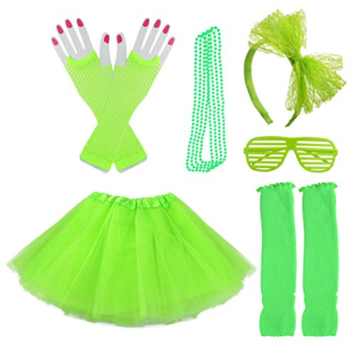 - Miayon Kids 6 in 1 Costume Accessories 1970s 1980s Fancy Outfits and Dress for Cosplay Party Theme Party for Girl (Green)