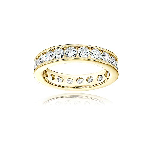 Gold Round Channel Set - Yellow Gold Flashed Sterling Silver Cubic Zirconia Round 3mm Channel Set Polished Eternity Band Ring, Size 5