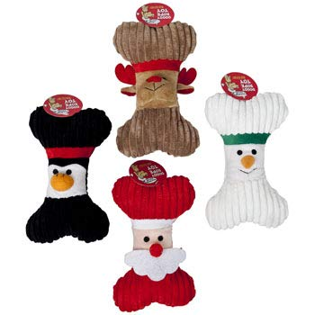 Christmas Plush Dog Bone Squeaky Toy Squeak (Set of 4) Santa Reindeer Penguin Snowman