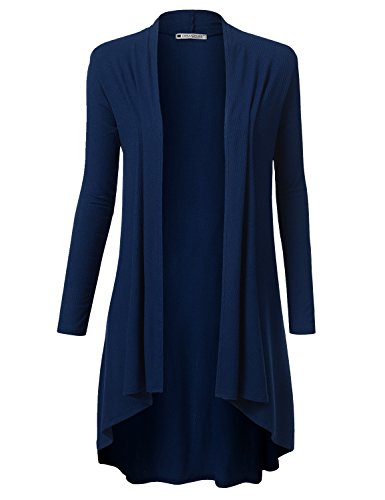 (URBANCLEO Womens Solid Ribbed Hi-Lo Open Front Long Cardigan Navy, M)
