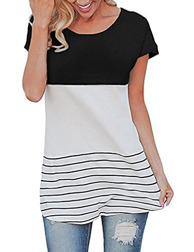Little Lady Top (Sherosa Women's Spring Color Block Short Sleeve Tunic Tops Blouse (S, Black1))