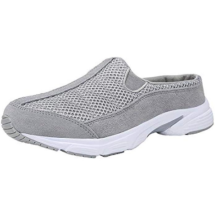 FANTURE Womens Mesh Breathable Casual Sneakers Clog Mule Ultra Lightweight Slip on Walking Shoes Genuine Suede Leather U420Sneaker077-Light Grey-06-38