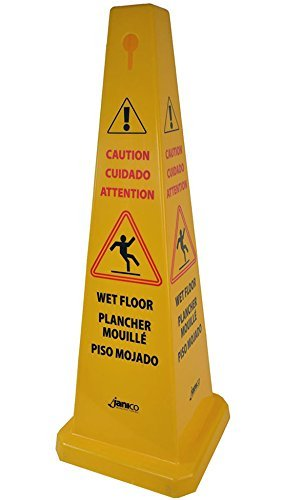 Janico 1072 Wet Floor Cone Public Safety Caution Cone, 4 Sided Caution Wet Floor Imprint, Multi Lingual, 36 Inch High, 12 Inch Base, Yellow