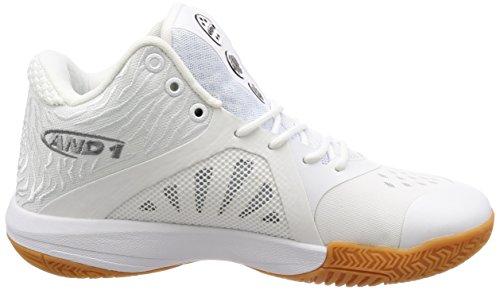 E1 Uomo Attacco Metà Scarpa Da Basket Bianco / Super Foglio / Gomma