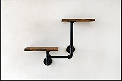 Shelf-L Lying Estanterías de Madera Maciza, Racks de Tablero Rack Rack Decorativo de Maceta de Pared Rack Rack Simple Retro Simple 23-46cm Encontrar (Tamaño : 23 * 15 * 16cm)