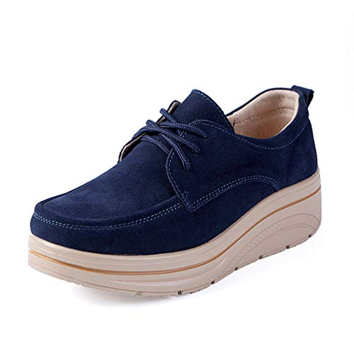 JOYBI Women Round Toe Flat Walking Shoes Suede Breathable Comfort Slip-on Fashion Casual Platform Loafers -