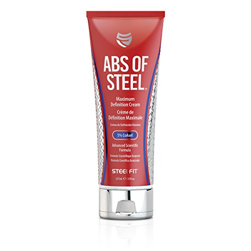 SteelFit Abs of Steel Maximum Definition Cream with 5% Coaxel, 8 fl oz (237ml).