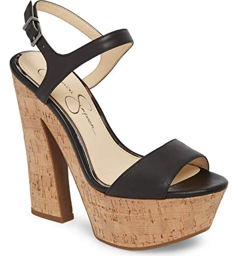 Jessica Simpson Womens Divella Leather Open Toe Ankle Strap, Black, Size 9.5 (Jessica Platforms Leather)
