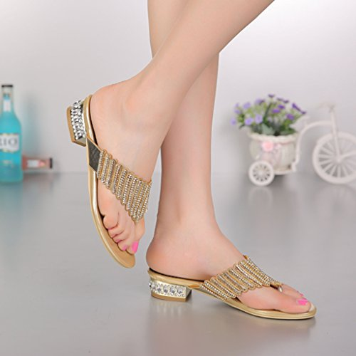 Crc Mujeres Unique Nice Glitter Rhinestone Microfibra Flip-flop Sandalias Zapatillas Low Heel-gold
