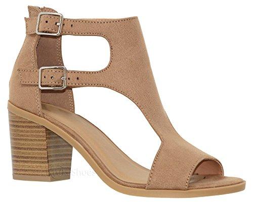 MVE Shoes Women's Open Toe Double Buckle Cutout Stacked Heel Sandal, tan IMSU Size 10