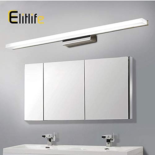 Elitlife Vanity Light 23.64 inch Bathroom Vanity Light Fixtures Stainless Steel Wall Light LED Acrylic Rectangle Tube Cool White 6500K for Bathroom/Bedroom Lights ()