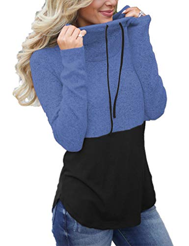(Women Tunic Sweatshirt Long Sleeve Turtleneck Casual Plus Size Pullover Top Sweatshirts for Women Blue 2X)