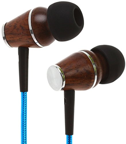 Cheap Symphonized XTC 2.0 Premium Genuine Wood In-ear Noise-isolating Headphones|Earbuds|Earphones with Innovative Shield Technology Cable and Mic (Electric Blue)