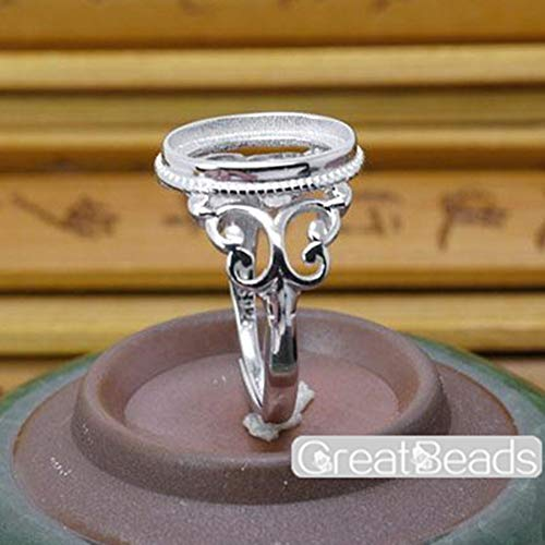 Ring Blank for 10x14mm Oval Cabochons Sterling Silver Adjustable Band Ring Setting JZ013
