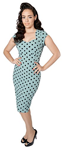 schwarzen Dress Punkte Damen mit Pencil Collectif Kleid Regina Mintfarben Polka Dots Dots xf6wpxRvnq