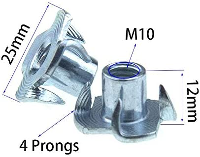 Binzzo M10 X 12mm T Nut 4 Prong Tee Blind Nuts Threaded Insert Clean Threads No Rust Carbon Steel Zinc Plated for Wood Rock Climbing Wall Holds Plywood Furniture Particle Board CNC Router 30 Pack