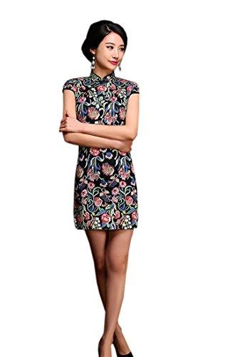 Robe Soirée En Coton Cheongsam Pour Mode Fleurs Imprimé Femme Qipao De Court Acvip wq8gYBnExx