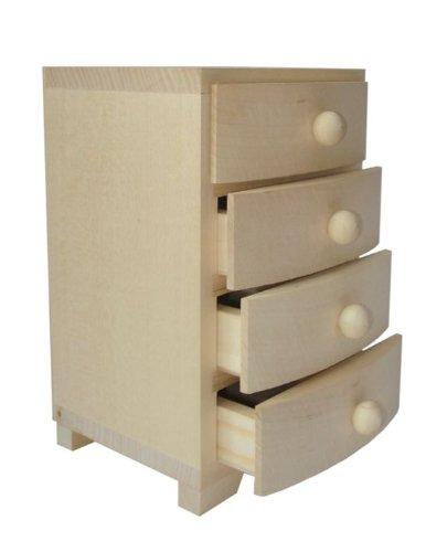 Plain Wooden Box 4 Drawers Decoupage 19x105x125cm 4small