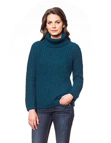 Invisible World Women's Baby Alpaca Pullover Turtleneck Sweater Bluegreen Lg