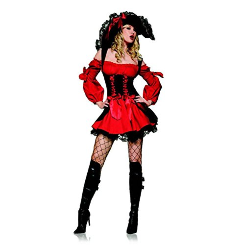 Mememall Fashion Leg Avenue Sexy Swashbuckler Vixen Pirate Wench Women's Costume - Small 83157 (Plus Size Renaissance Wench Costume)