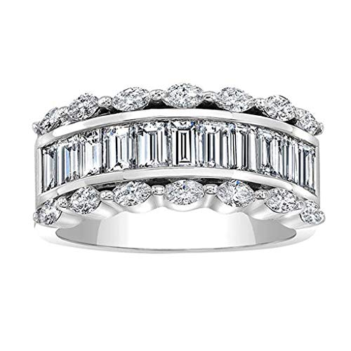 Crystal Wedding Ring for Women, Londony◈ Natural Diamond Wedding Anniversary Jewelry Vintage Diamond Engagement Band