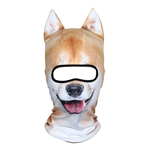 AXBXCX 3D Animal Ears Fleece Thermal Neck Warmer Windproof Hood Cover Face Mask Protection for Ski Snowboard Snowmobile Halloween Winter Cold Weather Funny Shiba Inu - Animal Neck